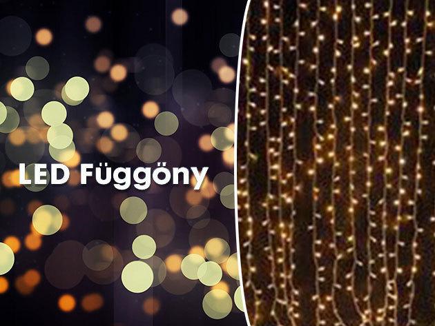 AZONNAL ÁTVEHETŐ! Díszvilágítás - LED fényfüggöny 2 méter x 1,5 méteres méretben, 210 LED-del meleg és hideg fehér színben / bel- és kültéri használatra egyaránt