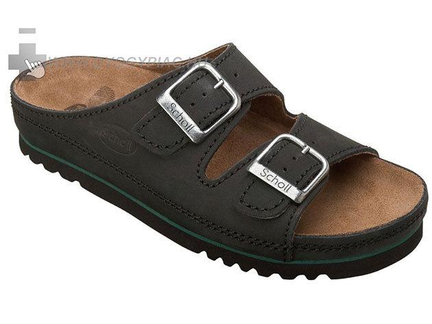 SCHOLL Standard A bőrpapucs megterhelt lábra - fekete - 35