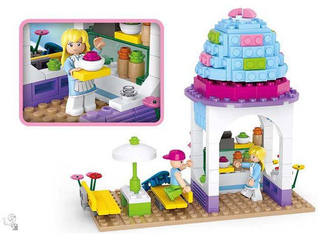 Sluban építőjátékok lányoknak, melyek Lego kompatibilisek - szupermarket, királylány hintó, fagyizó, kreatív készlet