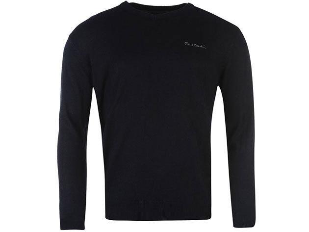 Pierre Cardin férfi V-nyakú vékony pulóver - Sötétkék - 55922422 - XL