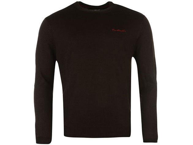 Pierre Cardin kerek nyakú vékony férfi pulóver - barna - 55922891 - M