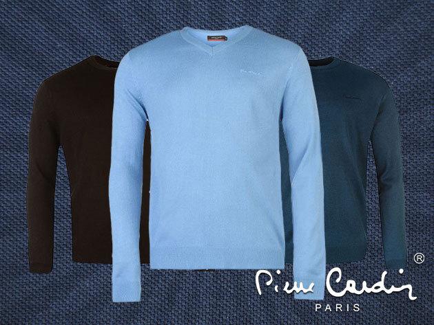 Pierre Cardin V nyakú férfi pulóverek - vékony gépi kötött akril anyag, stílusos megjelenés / S-XXL