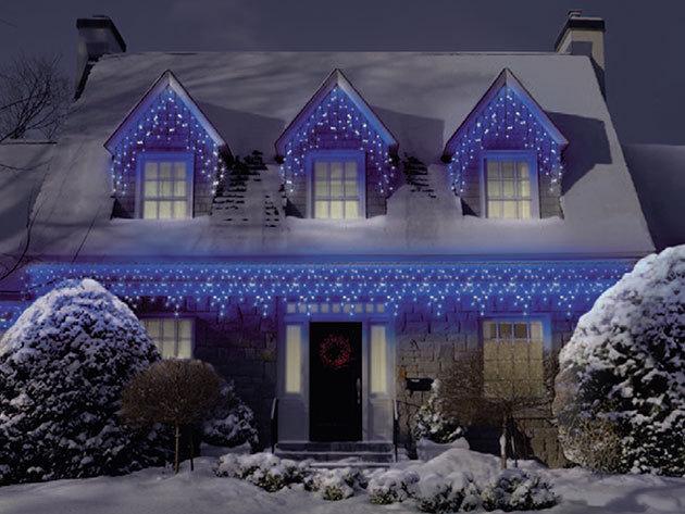 Ünnepi díszvilágítás - jégcsap fényfüzér 184 db LED-del, hideg fehér színben - 6,6 m hosszú, toldható