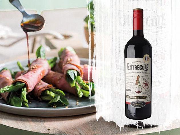 Entrecote Merlot Cabernet Sauvignon (0,75l) minőségi száraz francia vörösbor az ünnepi készülődéshez
