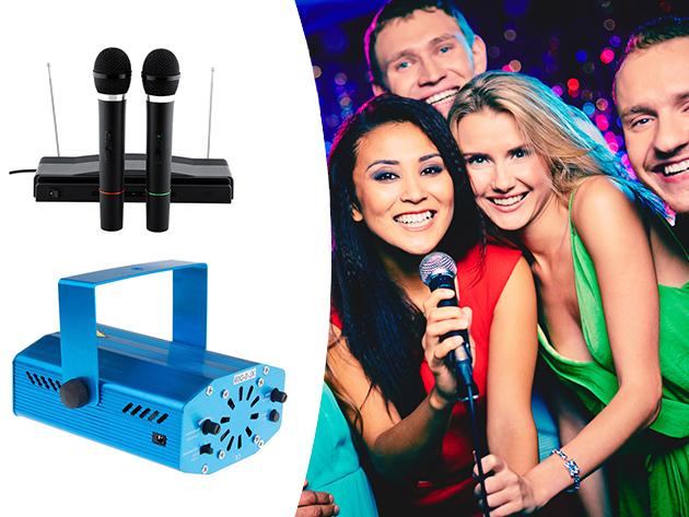 Karaoke szett 2 db mikrofonnal és lézeres disco fény - házibulikhoz, különböző rendezvényekhez és karaoke partikhoz