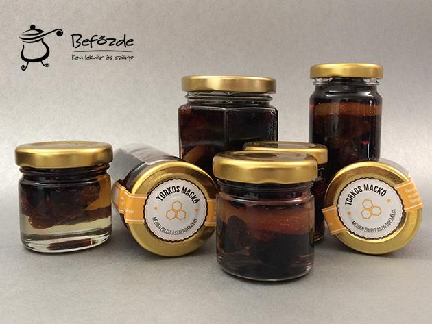 """Torkos Mackó finomságok - aszalt gyümölcsök természetes mézben """"érlelve"""" 30 ml vagy 1 dl kiszerelésben"""