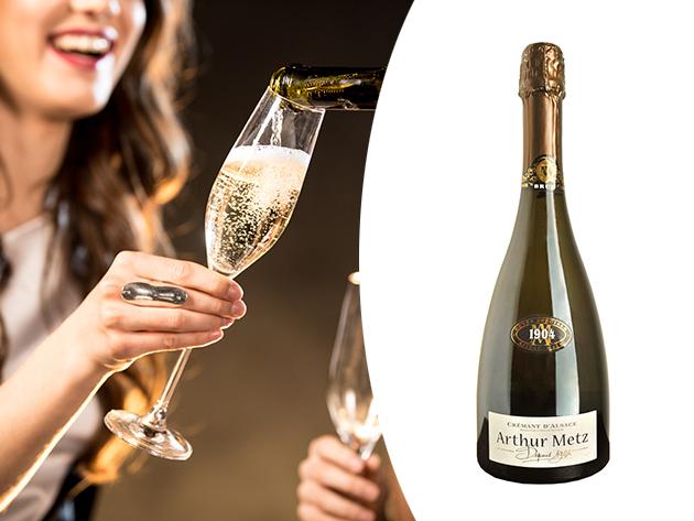 ARTHUR METZ CREMANT D´ALSACE AOP BRUT 1904 (0,75l) minőségi száraz francia pezsgő az ünnepekre