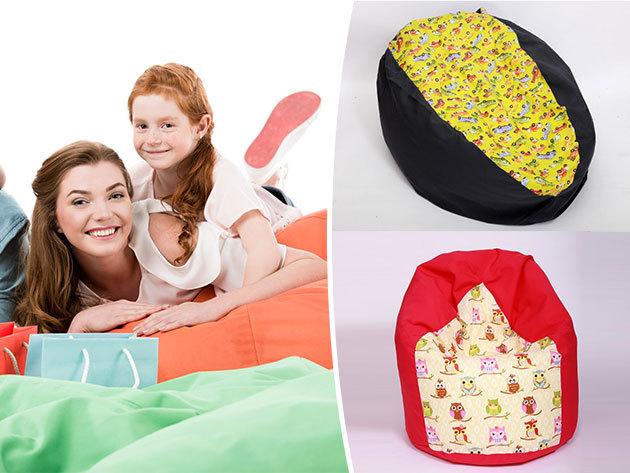 Babzsákfotel gyerekeknek baglyos vagy autós mintával - 130 literes, levehető és mosható huzattal / Extra kényelem, kiváló minőség...