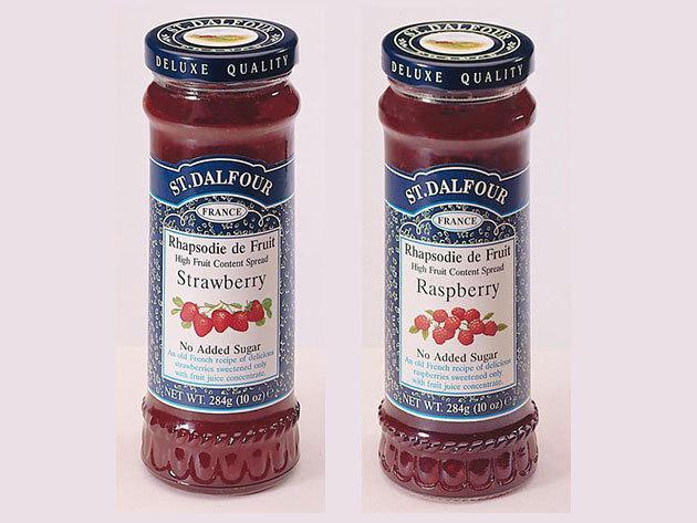 Special Duo Pack St. Dalfour mutatós dobozban, porcelán kanálkával I. ( eper + málna)