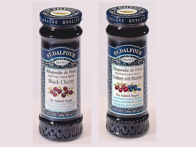 Special Duo Pack St. Dalfour mutatós dobozban, porcelán kanálkával I. (Fekete cseresznye + vörös és kék áfonya)