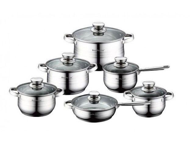 Rozsdamentes 12 részes edénykészlet hőálló fogantyúkkal és többrétegű talppal