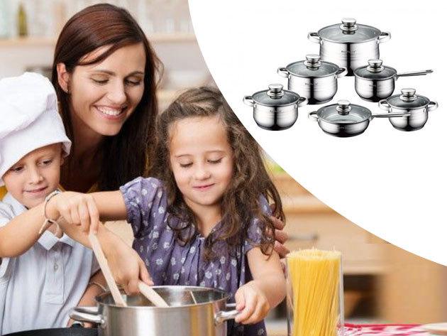 Rozsdamentes 12 részes edénykészlet üvegfedőkkel, hőálló fogantyúkkal és többrétegű talppal