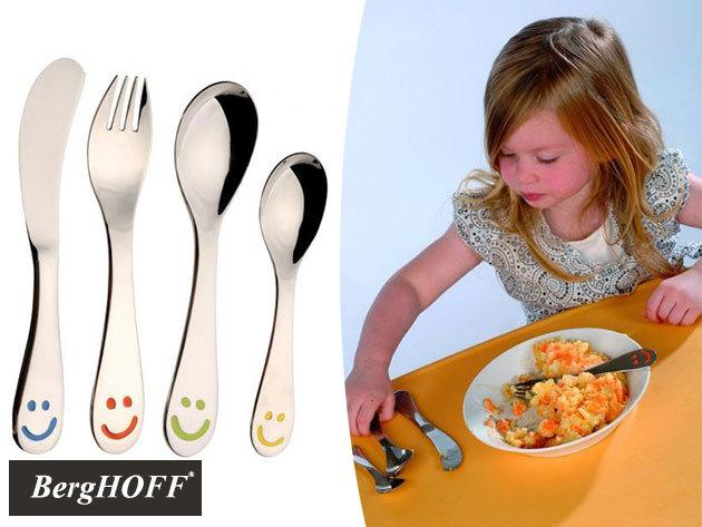 BergHOFF Smiley evőeszközkészlet gyerekeknek rozsdamentes acélból / 4 részes: kanál, teáskanál, villa, kés