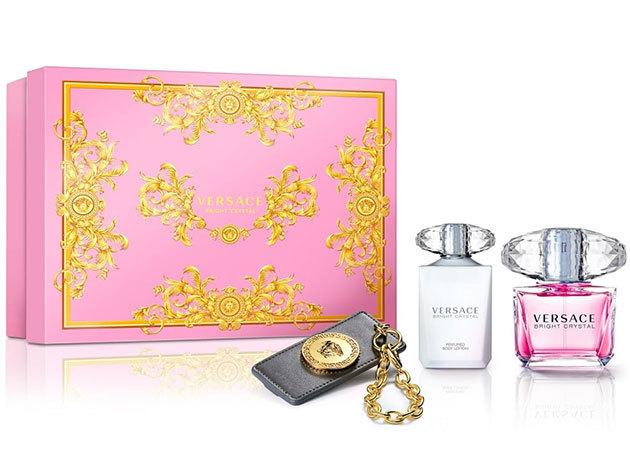 Versace - Bright Crystal Parfüm szett nőknek: EDT 90ml + Testápoló krém 100ml + Versace kulcstartó