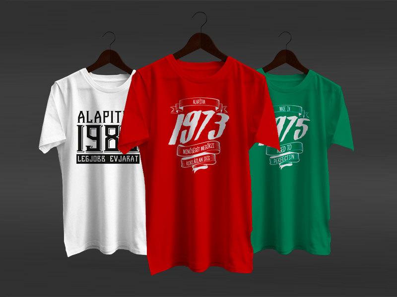 Évszámos, mókás feliratú személyre szabott pólók - 4 színben, S-XXL női és férfi méretek