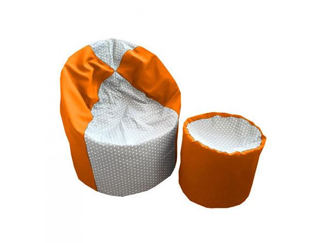 Kis csillag mintás színes csepp formájú babzsák, puffal (210 L) - Narancs