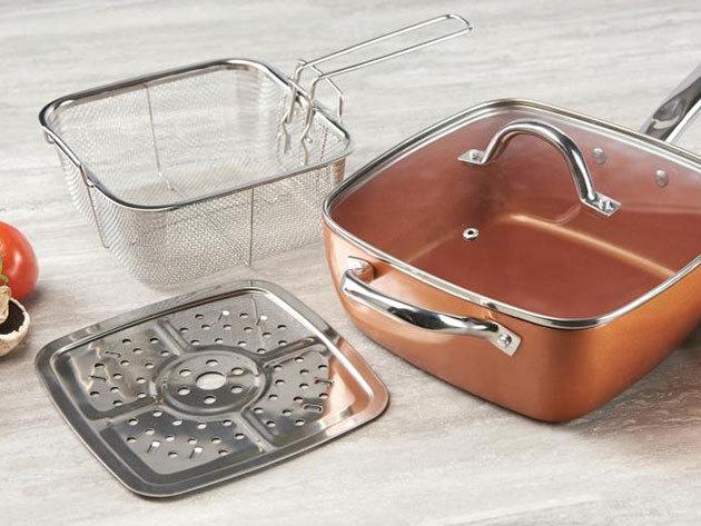 Royalty Line Copper pan 4 részes szögletes serpenyő szett - használható lábasként, olajsütőként, tepsiként, tésztafőzőként is