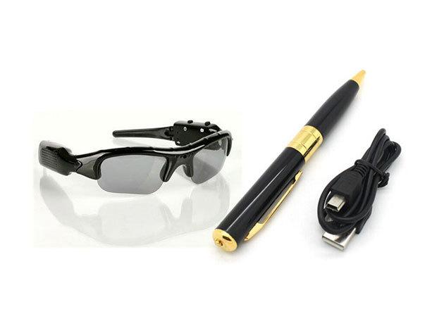 Kamerás szemüveg / napszemüveg, minőségi kép- és videórögzítéssel, USB kábellel és fekete tokkal 5.990 Ft / tollba rejtett kamera bővíthető memóriával 3.990 Ft