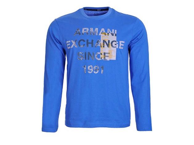 Armani Exchange Férfi Hosszú újjú póló Világos Kék - L