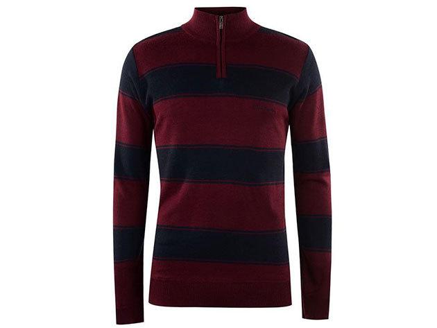 Pierre Cardin pulóver - burgundi/sötétkék - L