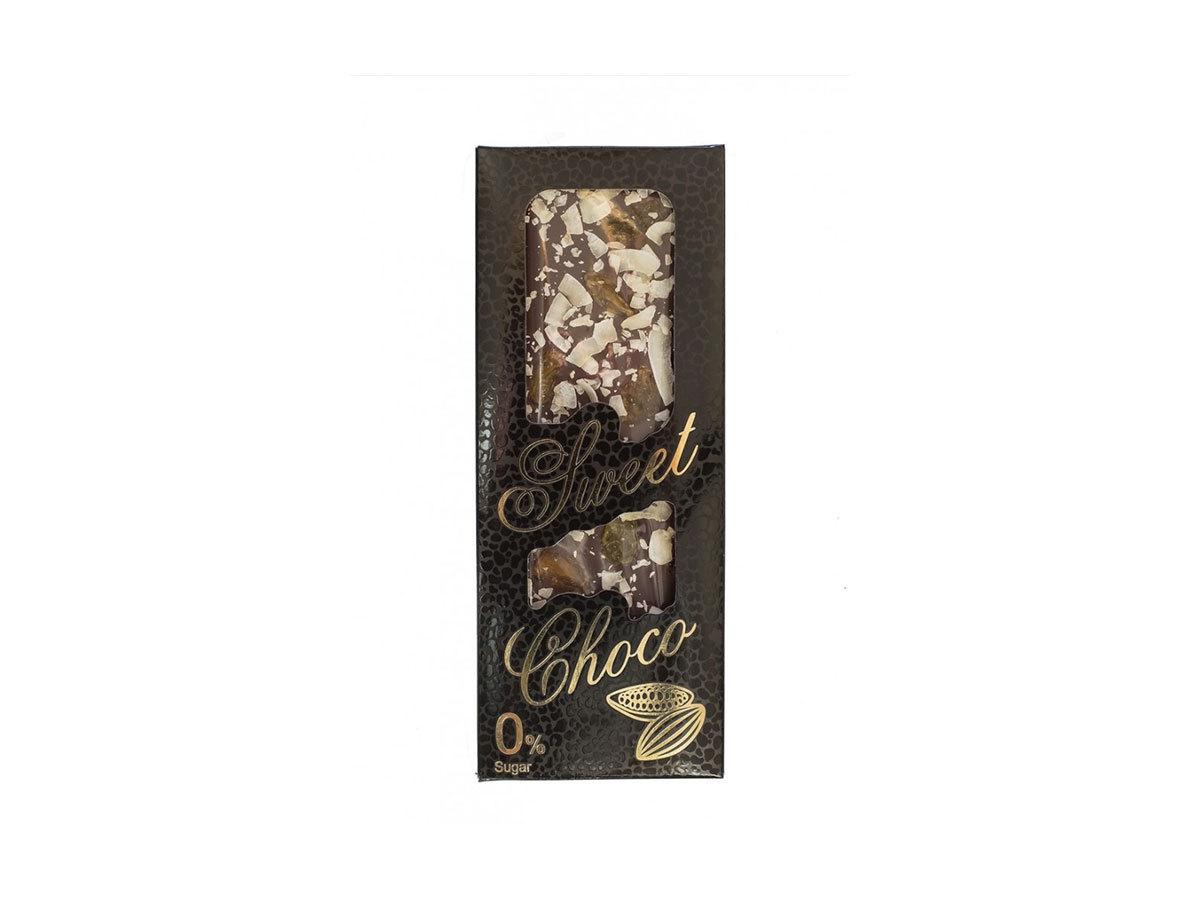 SWEET CHOCO kézzel készített cukormentes tejcsokoládé kókuszháncs, aranymazsola