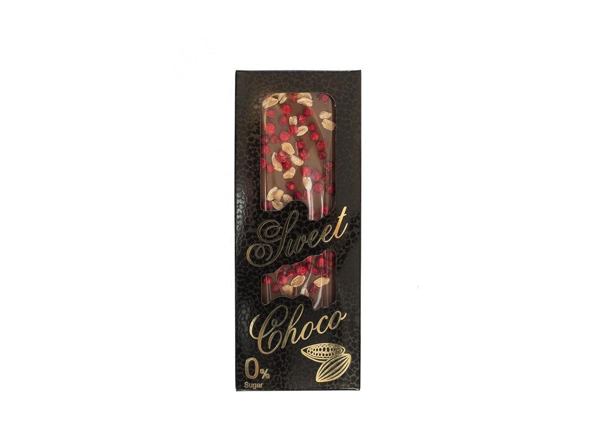 SWEET CHOCO kézzel készített cukormentes tejcsokoládé liofilizált piros ribizli, földimogyoró