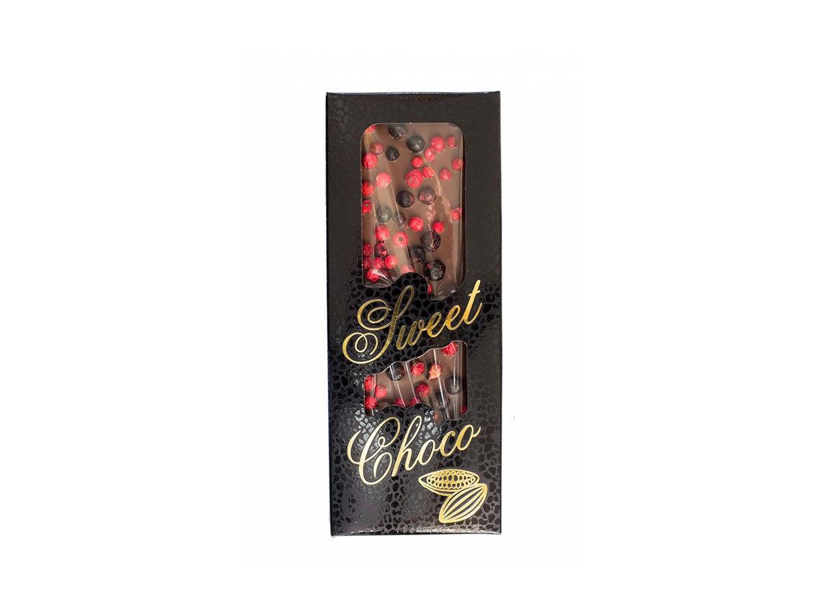 SWEET CHOCO kézzel készített tejcsokoládé liofilizált fekete ribizli, piros ribizli