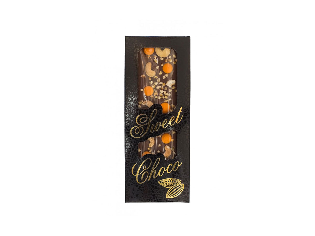 SWEET CHOCO kézzel készített tejcsokoládé narancsízű csokoládé pasztilla, kesudió, kandírozott narancs
