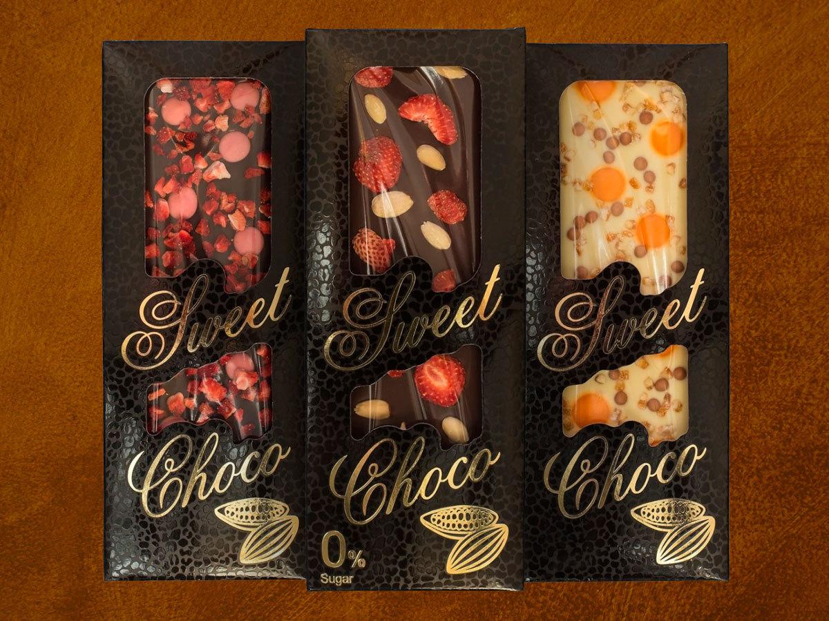 SWEET CHOCO kézzel készített táblás csokoládék gazdag ízválasztékban (100g) akár cukormentesen, valódi gyümölcsökkel és magvakkal