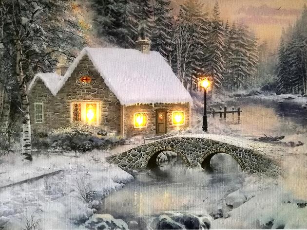 LED-es téli képek - szemet gyönyörködtető vászonkép hangulatos világítással