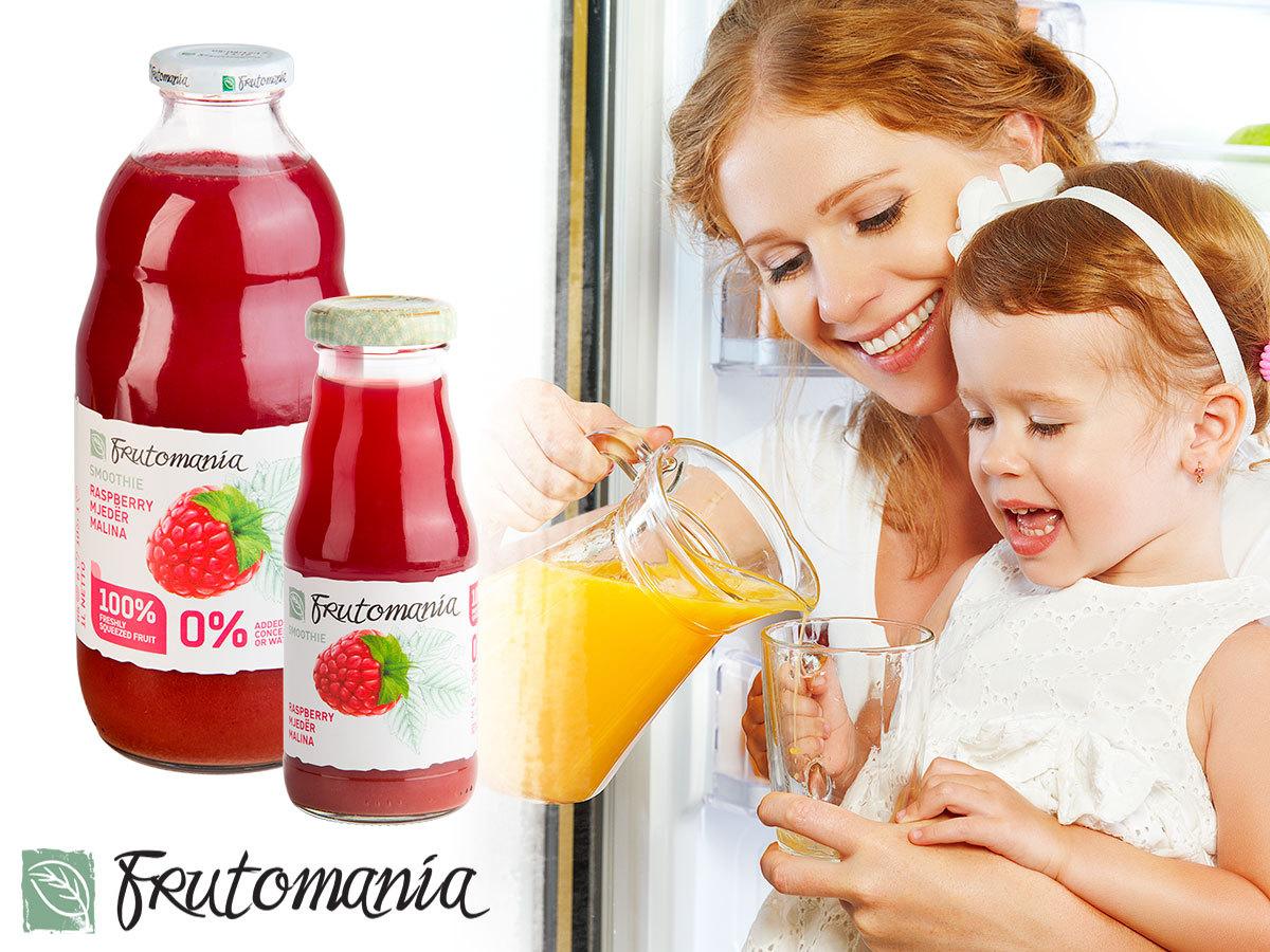 Frutomania 100% gyümölcstartalmú, frissen facsart ivólevek változatos ízekben, 2 dl-es és 1 literes kiszerelésben / tartósítószer, víz, adalékanyag mentesen