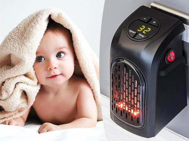 Handy Heater hősugárzó kábel nélkül - kis méret, energiatakarékos, biztonsági kikapcsoló funkció, kerámia fűtőelem
