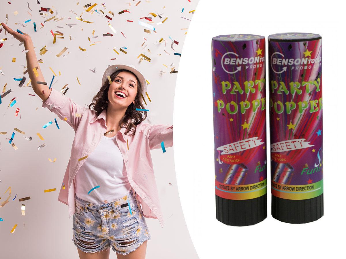 Konfetti ágyú duo pack - 2 db parti kellék, mellyel színes papírcsíkokat lőhetsz a magasba