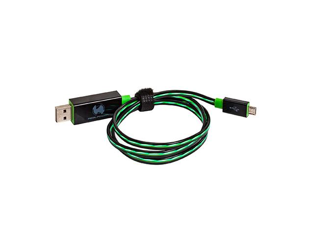 RealPower micro USB LED-es lebegő kábel, zöld színben