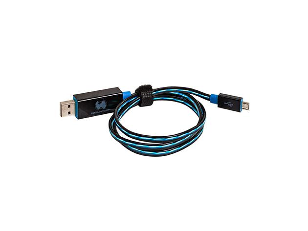 RealPower micro USB LED-es lebegő kábel kék színben