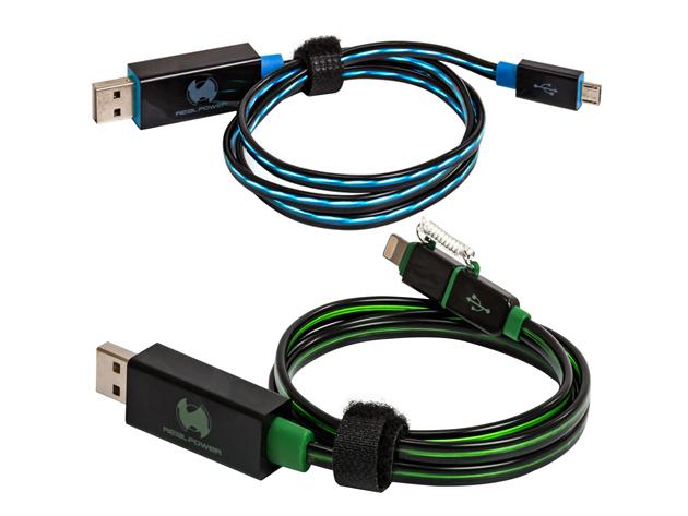RealPower micro USB LED-es lebegő töltő- és adatkábelek micro USB bemenettel, akár világító port-tal