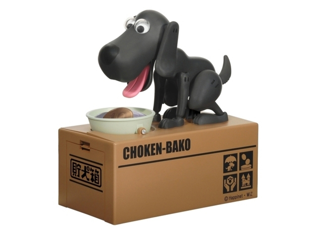 Interaktív persely - éhes kutyus - fekete