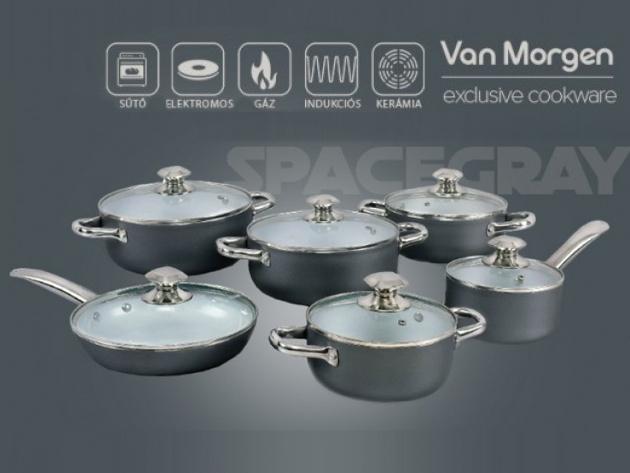 Edénykészlet kerámia bevonattal a minőség jegyében - 12 részes Van Morgen szett üvegfedővel