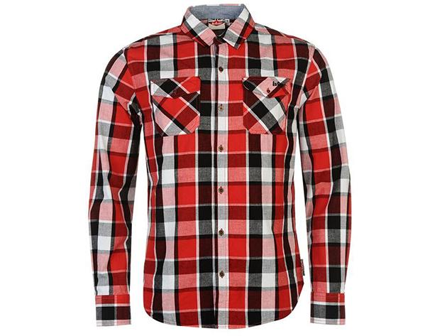 Lee Cooper férfi hossz ujjú ing - piros/fekete/fehér 55816694 - L