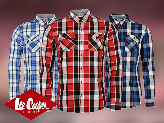 Lee Cooper férfi hosszú ujjú kockás ingek - 100% pamut anyag, klasszikus szabás (M-XXL)