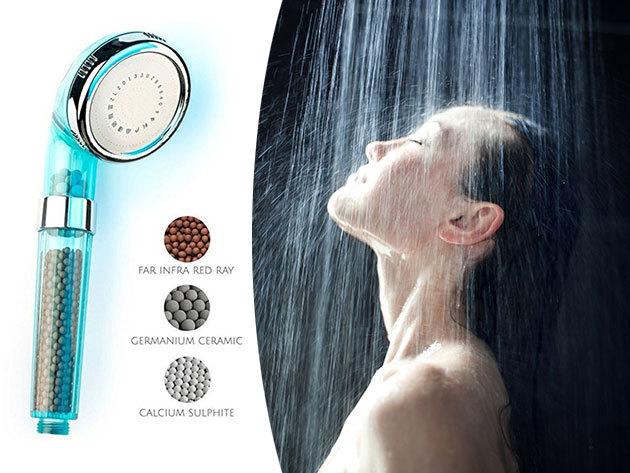 Germánium klórszűrős zuhanyrózsa - természetes vízfertőtlenítő hatás és víztakarékosság / a germánium kristályok gátolják a baktériumok szaporodását és kiszűrik a klórt
