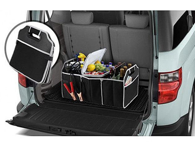 Autós csomagtartó rendező, tároló, hőszigetelt lappal borított résszel és több rekesszel