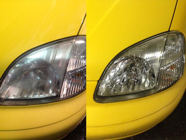 Autókozmetika - fényszóró polírozás prémium külső mosással