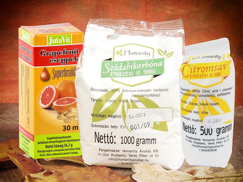 JutaVit Grapefruitmag csepp (30ml) 850 Ft, Étkezési citromsav (500g) 650 Ft és Étkezési szódabikarbóna (500g) 390 Ft