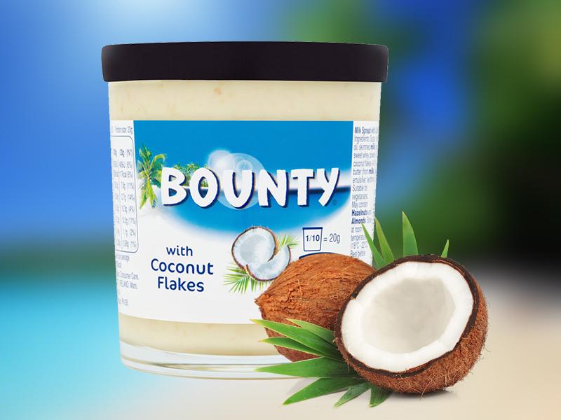 Bounty krém 200g - kenhető tejes krém kókuszreszelékkel, különleges finomság desszertekhez