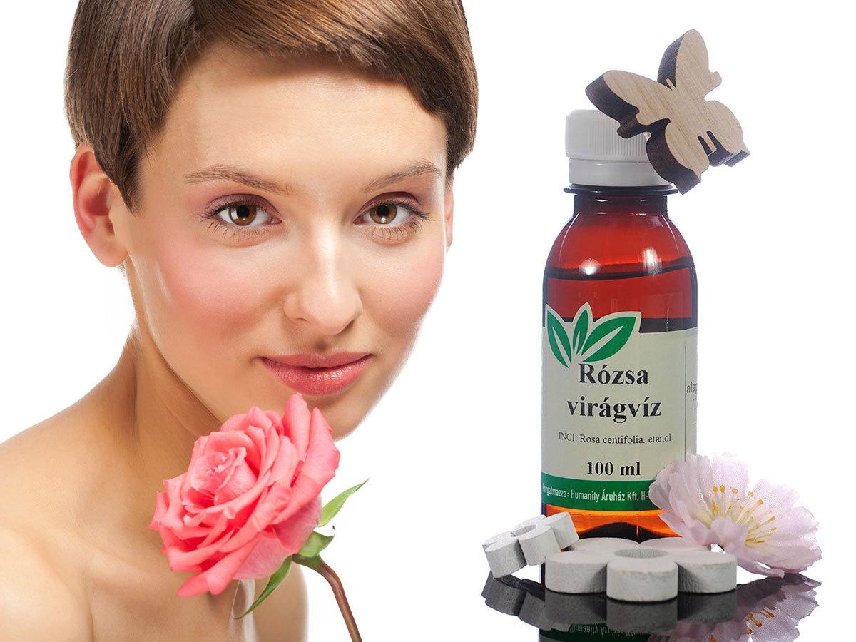 Rózsa virágvíz 100 ml - tonizálja az arcbőrt, ránctalanító és sejtregeneráló hatással bír