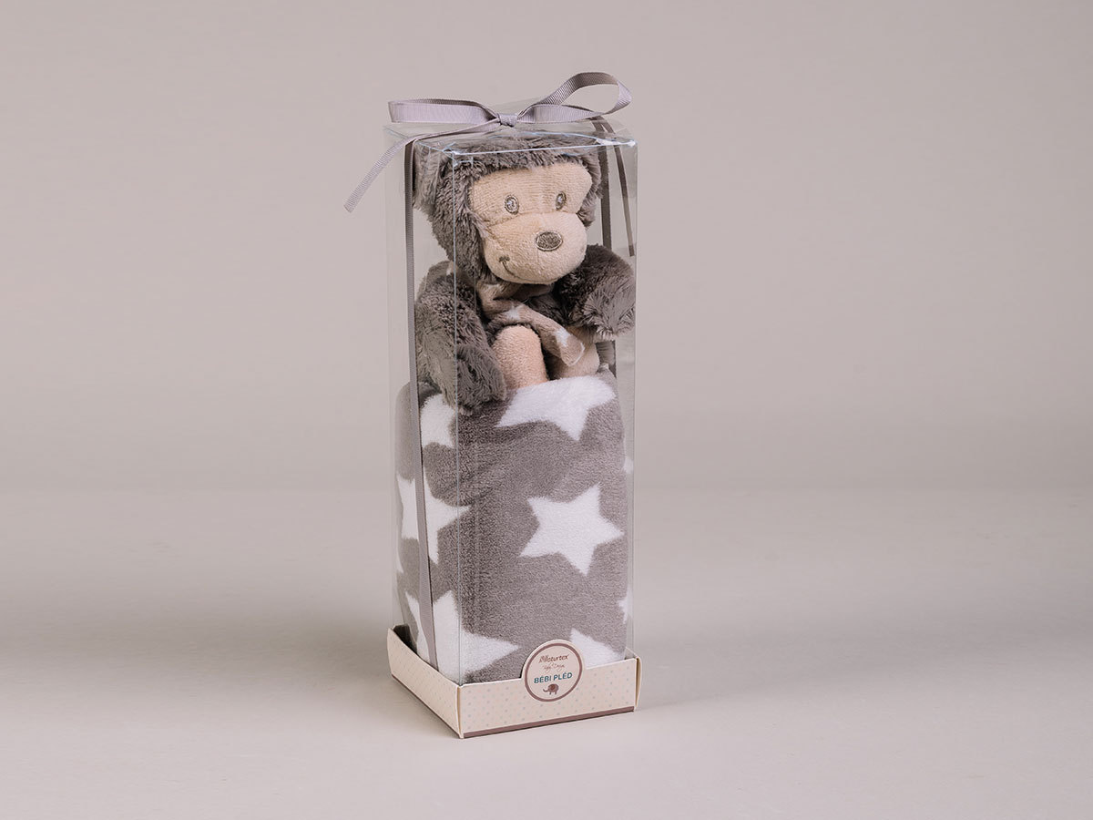 Szürke baby pléd majommal PVC boxban (100x75 + 21cm plüss) 5998306369165