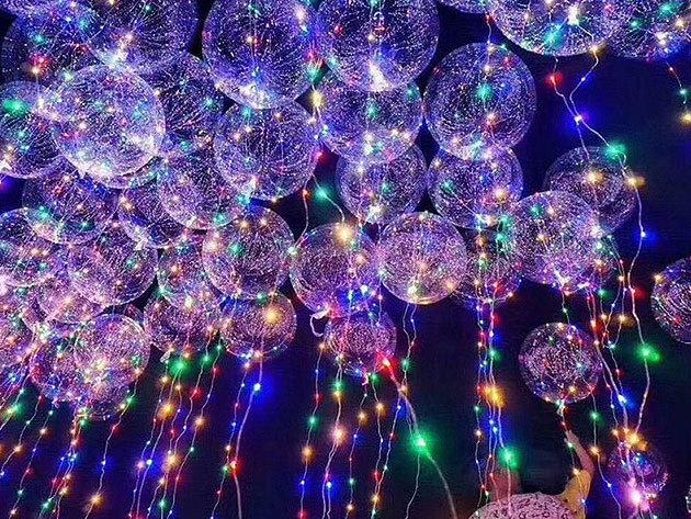 Világító LED lufi! Tartós, többször használható látványos dekoráció, igazi party kellék (40-45 cm átmérő)