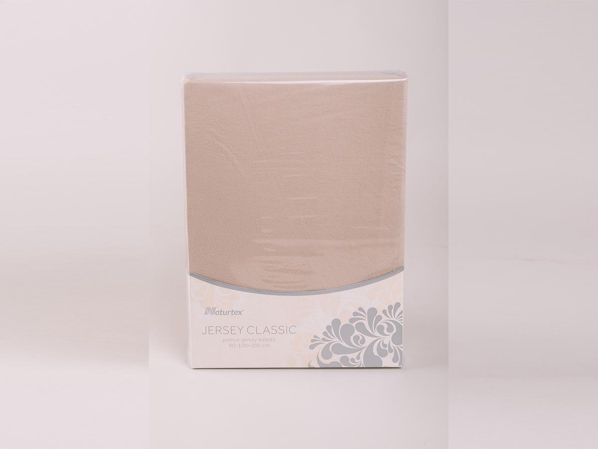 Jersey gumis lepedő 140-160x200cm - HOMOKBARNA