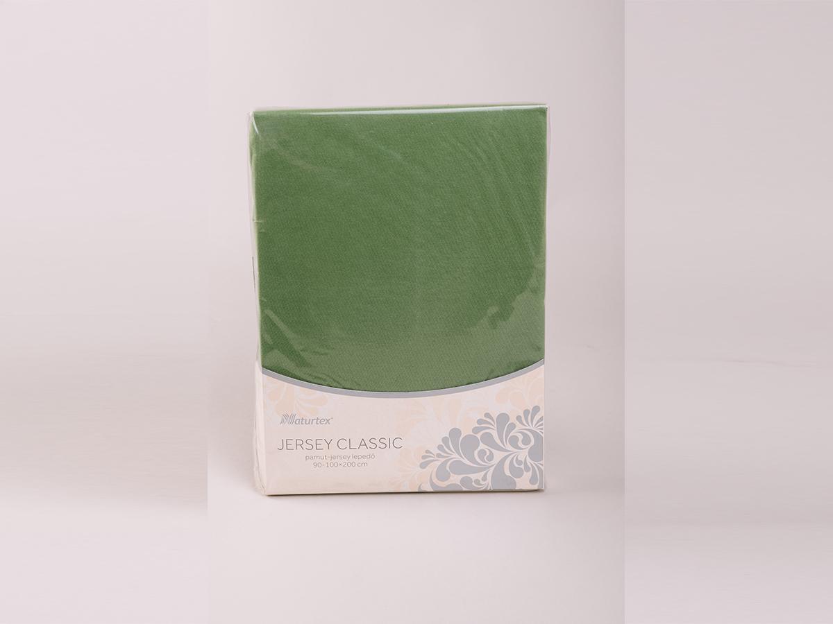 Jersey gumis lepedő 140-160x200cm - OLAJZÖLD